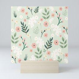 Spring Floral Botanical Pattern in Blush Pink and Green Mini Art Print