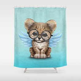 Cheetah Cub with Fairy Wings Wearing Glasses on Blue Shower Curtain