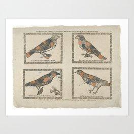 Deze vier vogels hebben al haar leven lang hooren fluyten en zingen Art Print