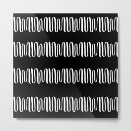Linocut wavy line pattern stripes chevrons simple basic black and white pattern Metal Print