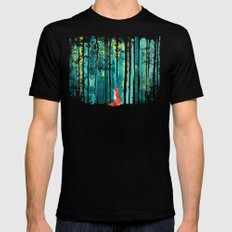 Fox in quiet forest MEDIUM Mens Fitted Tee Black