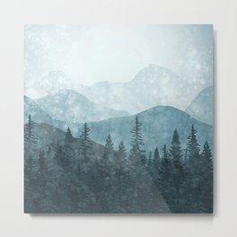 Morning Glory - turquoise Metal Print