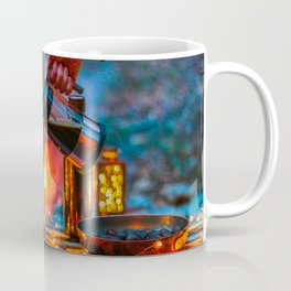 Pouring Coffee by the Campfire Coffee Mug