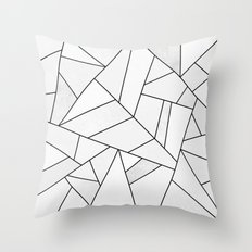 White Stone / Black Lines Throw Pillow