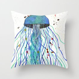 Watercolor Blue Jellyfish Throw Pillow