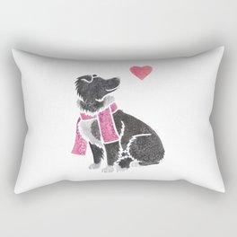 Watercolour Border Collie Rectangular Pillow