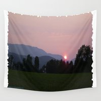 vermont Wall Tapestries featuring Vermont Sunset over Green Mountains of Vermont by Vermont Greetings