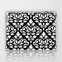 Scroll Damask Large Pattern White on Black Laptop & iPad Skin