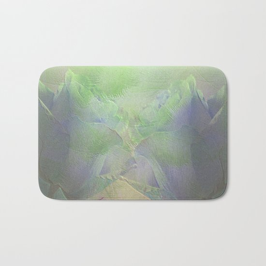 Painterly Mint Green and Lavender Roses Abstract Bath Mat