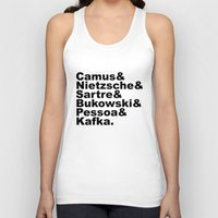 camus Tank Tops featuring Camus& Nietzsche& Sartre& Bukowski& Pessoa& Kafka. by Andrew Gony