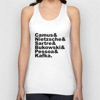 kafka Tank Tops featuring Camus& Nietzsche& Sartre& Bukowski& Pessoa& Kafka. by Andrew Gony