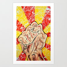 Fist, Red, Yellow Art Print