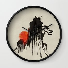 Japanese Mountain sunset - sumi-e Wall Clock