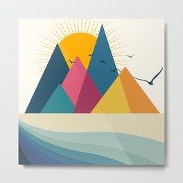 Colorful Flat Mountain Metal Print