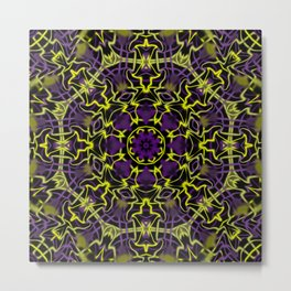 Purple Yellow and Black Kaleidoscope Metal Print