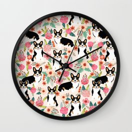 Welsh Corgi tri colored cardigan corgi dog breed must have corgi gifts for dog person pet friendly Wall Clock