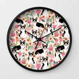 Welsh Corgi tri colored cardigan corgi dog breed must have corgi gifts for dog person pet friendly Wall Clock