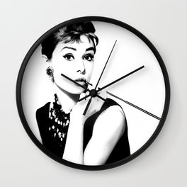 Audrey, Black and White Art, Cigarette Holder Wall Clock