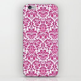 Elegant Damask Pattern (fuchsia) iPhone Skin
