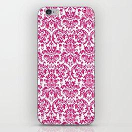 Elegant Damask Pattern (fuchsia) iPhone Skin