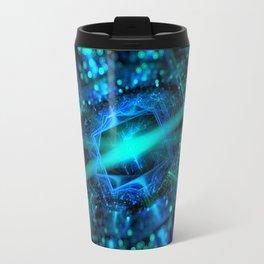 abstract green blue star fractal with bokeh Travel Mug