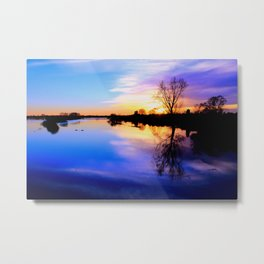River in flood at sunset Metal Print