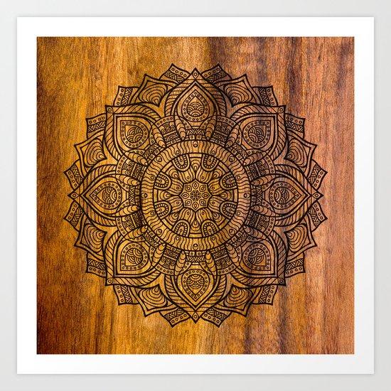 Mandala on wood Art Print