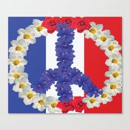 FRANCE PEACE FLOWERS Pop Art Canvas Print