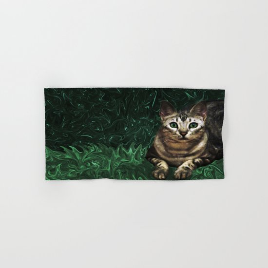 Green Grass Cat Eyes of a Marble Lepre-cat Hand & Bath Towel
