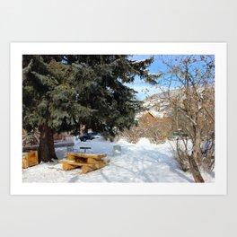 Snowy Park Art Print