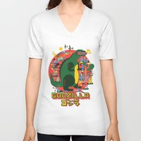 godzilla V-neck T-shirts featuring GODZILLA by Katboy 7