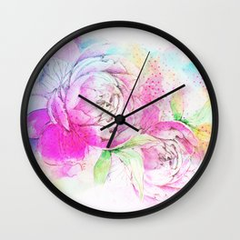 romantic floral alcohol inks Wall Clock