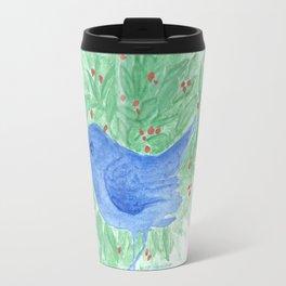 Blue bird and shrub watercolor painting Travel Mug