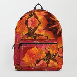 Glowing autumn Juneberry leaves kaleidoscope mandala Backpack