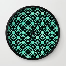 Mermaid Scales in Metallic Sea Foam Green Wall Clock