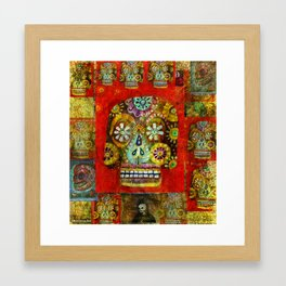 Day of the Dead - sugar skull, folk art PAINTING Framed Art Print