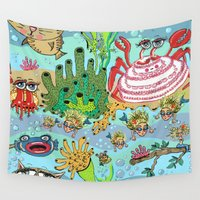 mermaids Wall Tapestries featuring Mini Mermaids and Friends by Amy Gale