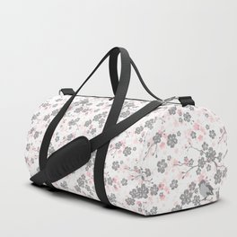 Silver and pink cherry blossom birds Duffle Bag