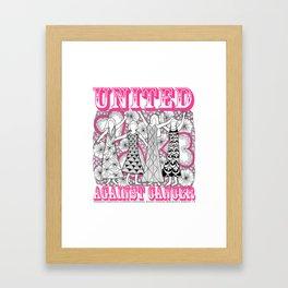 United Against Cancer - Breast Cancer Awareness - Zentangle Women Framed Art Print