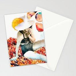 sun hat lady 1 Stationery Cards