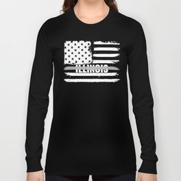Illinois Correctional Officers Gift for Correctional Officers and Prison Wardens Thin Silver Line Long Sleeve T-shirt