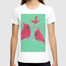 Three Cardinals And Berries T-shirt