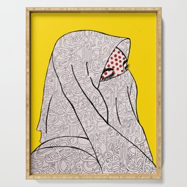 Roy Lichtenstein Meets the Arabic Woman Serving Tray