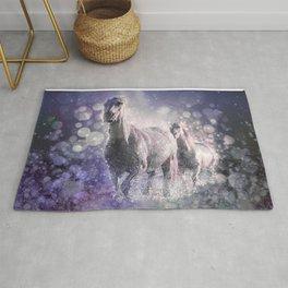 Blue Wild Horses Mixed Media Art Rug