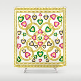 Jewelry Pattern with Gold Chains Shower Curtain
