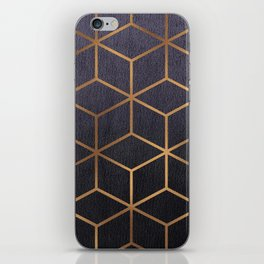 Dark Purple and Gold - Geometric Textured Gradient Cube Design iPhone Skin