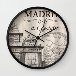 Vintage Travel Poster Madrid Wall Clock