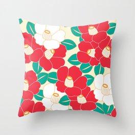 Shades of Tsubaki - Red & White Throw Pillow