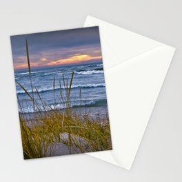 Sunset Photograph of a Dune with Beach Grass at Holland Michigan No 0199 Stationery Cards