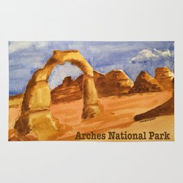 Delicate Arch Watercolor, Arches National Park Rug